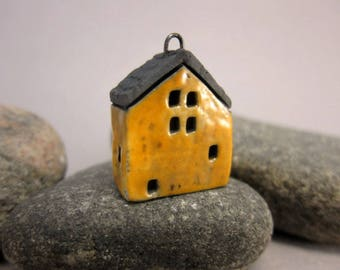 Raku House Pendant...Warm Yellow