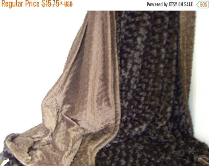 SALE Chocolate Brown Minky and Plush Rose Swirl Blanket - or choose your color, 3 sizes Can Be Personalized