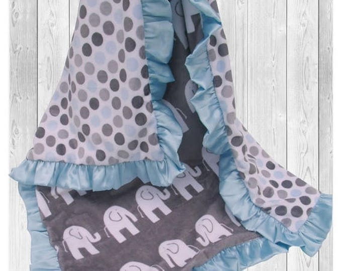 SALE Minky Baby Blanket in Blue and Charcoal Gray Jungle Elephant Print, Blue and Gray Woodland Animals Blanket, Satin Ruffle