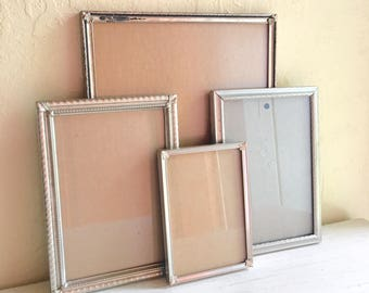 Vintage Silver Metal Filigree Picture Frames 8x10 5x7 and 3.5 x 5