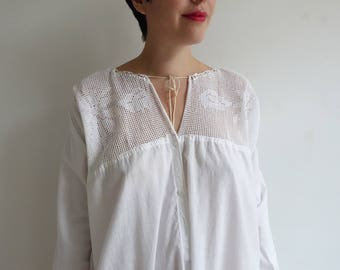 Antique Edwardian White Cotton Nightgown/ 1900s 1910s Chemise Corset Cover White Dress/Crochet Bodice/ XL