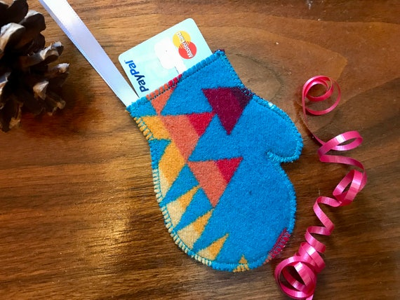 Mitten Christmas Ornament / Gift Tag / Gift Card Holder / Money Holder / Wool Turquoise Overall