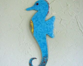 Metal Wall Art Seahorse Sculpture Periwinkle Blue Recycled Metal Beach House Coastal Marine Blue Seahorse Indoor Outdoor   5 x 12