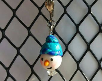 Snowman Crochet Stitch Marker, Polymer Clay Charm, Winter, Christmas