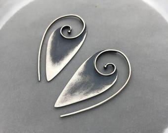 Sterling Silver Tribal Swirl Pointed Spiral Hoop Earrings