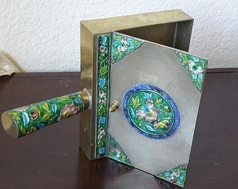 christmasinjuly Box with Handle or Silent Butler Enamel on Metal .. Chinese..