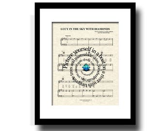 Lucy In The Sky With Diamonds Song Lyric Sheet Music Art Print, Spiral Song Lyric Art Print, Music Art, Gallery Wall Art