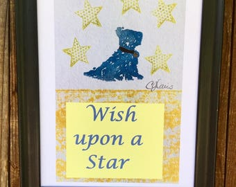 wish upon a star, blue dog, nursery art, lino print, boys room, blue scottie dog, puppy dog art, nursery quote, wish gift, star nursery art,