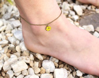 Yellow Flower Anklet, Boho Anklet, Bohemian style flower anklet, Summer flower anklet