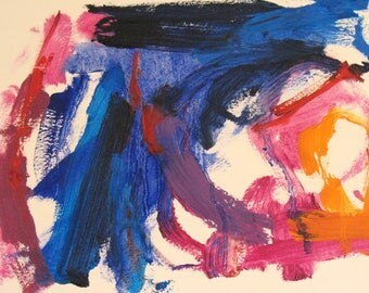 Pick Up The Pieces, Original Oil on paper 9 x 12 Abstract blue cobalt pink red orange