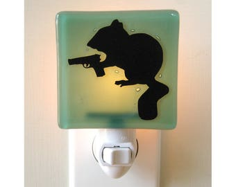 Chipmunk Night Light - Hand Painted Glass - Humor - Funny Gift