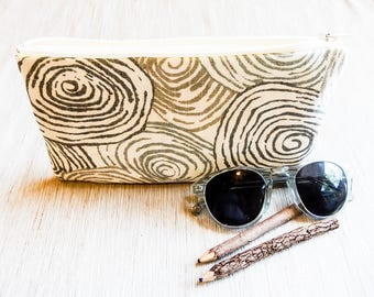 Boho Pouch, Cosmetic Bag, Pencil Pouch, Zipper Pouch, Fabric Pouch, Pouch, Gift for Her, Gift Under 20, Boho Motif with Grey Swirls