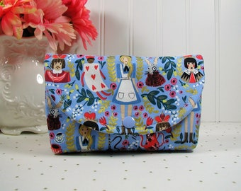 Snap Pouch, Large Snap Pouch, Cosmetic Pouch ... Wonderland in Periwinkle Metallic / Alice in Wonderland / Rifle Paper Co/ Cotton and Steel