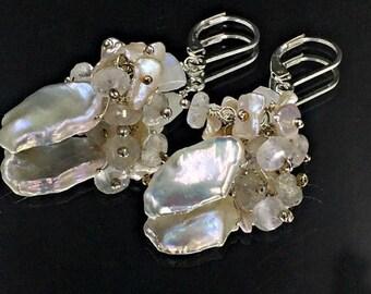 SALE Keishi Pearl Wedding Earrings Moonstone Mystic Quartz Cluster Wire Wrapped Sterling Silver Bridal Earrings Leverback