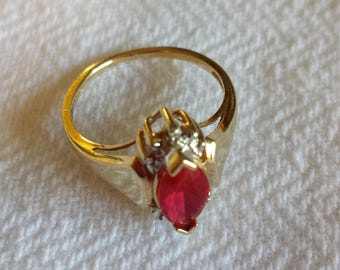10k ruby and diamond ring  size 6