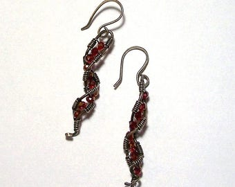 Red Chinese Crystal Rondelles Wrapped with Sterling Silver Wire Earrings by Carol Wilson of Je t'adorn