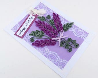Paper Quilled Purple lavender- Free Shipping- Paper Quilling- Birthday- Purple Lavender Bouquet Flowers -Thinking of You-Vintage Lace