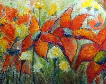 Summer Flowers Original Large Painting Orange Cream Gray Yellow Floral Canvas Art by Luiza Vizoli 36x24 ORANGE DAHLIAS