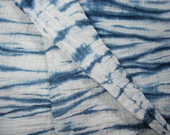 Blue Shibori Gauze Fabric Yard, Crushed Voile Fabric, Shibori Sheer Fabric, Shibori Voile Fabric, Organic Shibori Fabric, Sheer Material