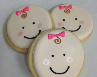 BABY FACE COOKIES, 12 Decorated Sugar Cookie Party Favors