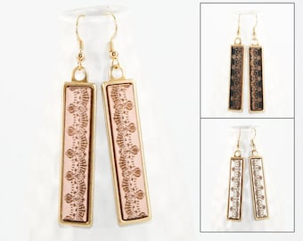 Wood Dangle Earrings - Lace Pattern Laser Engraved (Brass Setting / Choose Your Color) Hypoallergenic