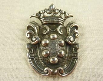 Vintage Cini Sterling Royal Crest Brooch with Crown