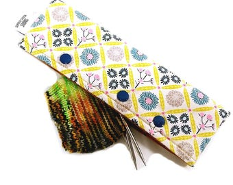 Stitch Holder Point Protector Zipper Pouch Needle Nook - DPN and Circular Project Holder - Woven Floral