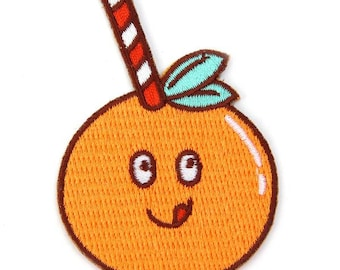 Orange Straw Iron On Patch