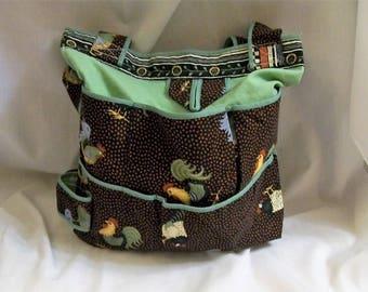 Book Bag, Reusable Shopping Bag, Tote Bag with Pockets, Tote Bag with Chickens, Shopping Bag, Reusable Grocery Bag