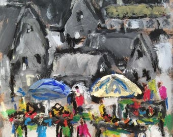 Street Market,  expressionist art, contemporary abstract impressionism, rural urban landscape painting