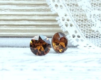 Brown Studs 8mm Earrings Brown Crystal Studs Solitaire Earrings Large CrystalStuds Surgical Steel Studs