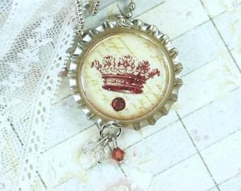 Victorian Crown Necklace Bottle Cap Jewelry Vintage Crown Necklace Princess Crown Jewelry Crown Pendant