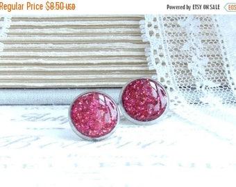 Pink Glitter Earrings Pink Stud Earrings Pink Glitter Studs Glitter Jewelry Surgical Steel Studs