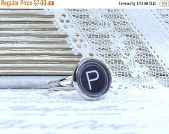P Ring Typewriter P Ring Letter P Ring P Gift Typewriter Jewelry Initial P Ring P Jewelry Gift For Her
