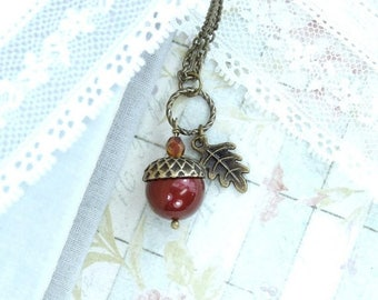 Acorn Pendant Necklace Autumn Jewelry Forest Necklace Acorn Jewelry Fall Necklace Woodland Jewelry