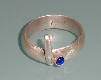 Sterling Silver Matte Blue Sapphire Cabochon Handmade Ring