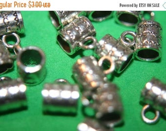 SUMMER SALE Antique Silver Tube with Loop Beads -8mmx6mm - 15 pcs