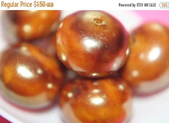 SUMMER CLEARANCE Tanned Metallic Bronze Lucite Rondelle Beads- 14mm x 10mm - 10 pcs