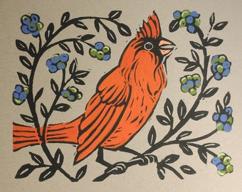 Bright red cardinal bird hand block print with painted details
