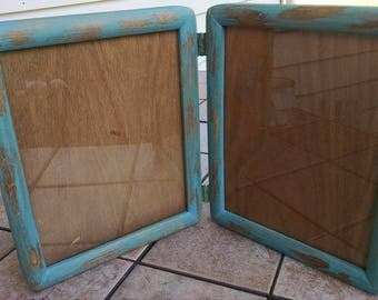 Picture Frame / Two  8 x 10 Frames / Hinged Frames / Teal Frames / Up-Cycled  Frames / Distressed Frames / Rustic Home Decor / Country Decor