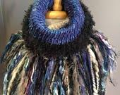 Handmade Knit Fur Reversible Cowl with artsy fringe, Knit neckwarmer, turtleneck scarf, black scarves, hand spun yarn, bohemian, artwear