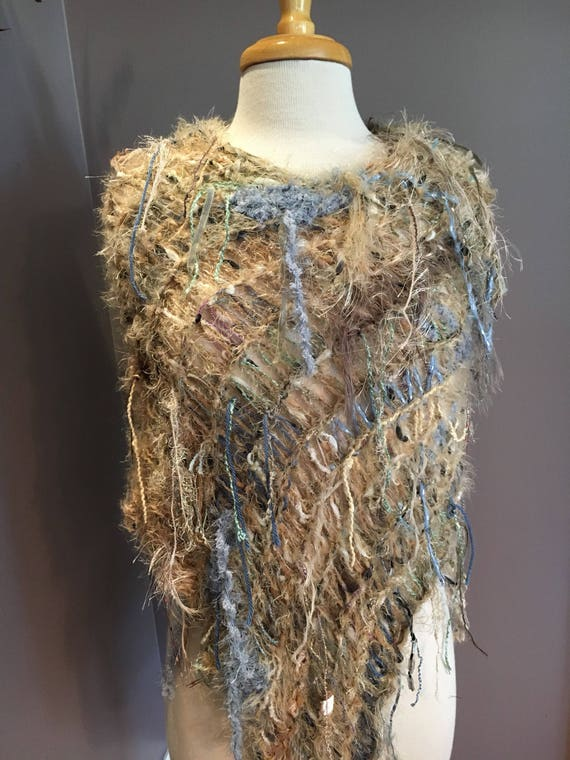 Hand knit funky poncho, Cowl neck, Dumpster Diva 'Modern Camo', Fringed Poncho, shoulder wrap, fur fashion, tan blue, poncho with fringe