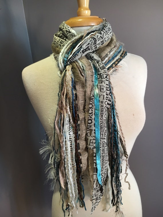 Fringe art scarf, Vienna Traveler, cream taupe grey scarf, city print, Handmade Boho Scarf, travel gift, newsprint scarf, art yarn scarf