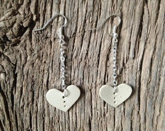 100% Real Leather Hanging Heart Earrings