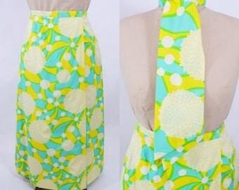 "1960s maxi skirt | bold aqua yellow novelty floral print skirt | vintage 60s maxi | W 29"""