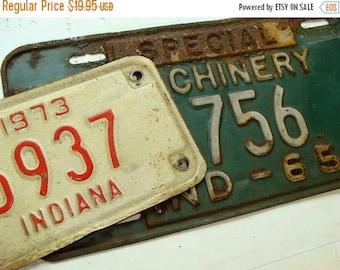 ON SALE Antique Vintage Metal License Plate Lot