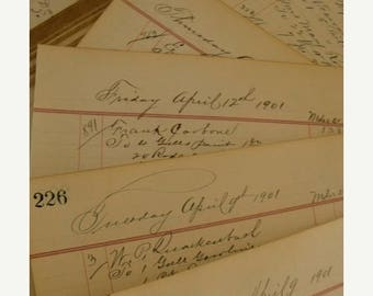 ON SALE Antique100YR Old Fancy Ledgers The Steady Hand of the Era