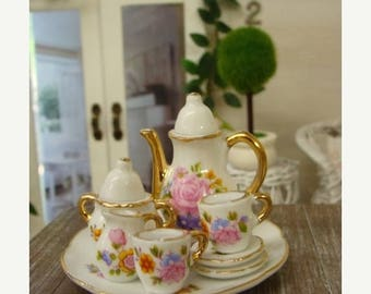 ONSALE Blythe Tea Set Beautiful Fancy Pink Roses  Shabby Chic Dollhouse China Tea Set