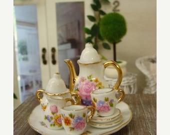 ONSALE Blythe Tea Set Beautiful Fancy Pink Roses  Shabby Chic Dollhouse China Tea Set
