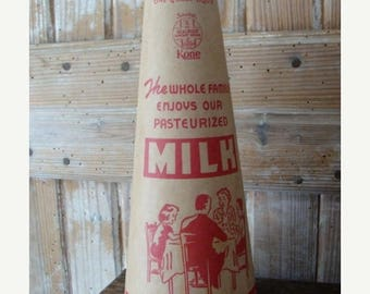 ONSALE Vintage 1930s Antique Waxed Cardboard Large Milk Container Carton with Amazing Graphics Great for Farmhouse Decor